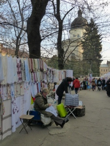 Vyshyvanky - traditional embroidered shirts - on sale in Lviv's market