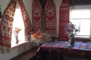 Rushnyk on display inside a traditional cottage